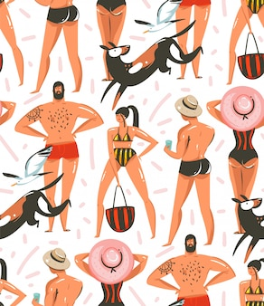 Modello senza cuciture delle illustrazioni disegnate a mano della raccolta dell'ora legale del fumetto con i caratteri delle ragazze e dei ragazzi sulla spiaggia con i cani ed i gabbiani su fondo bianco