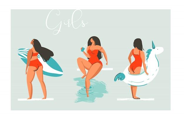 L'illustrazione disegnata a mano della raccolta delle ragazze della spiaggia di divertimento di estate del fumetto disegnato a mano ha messo con l'unicorno del galleggiante della piscina, la ragazza retro con il cocktail e il surfista su fondo blu