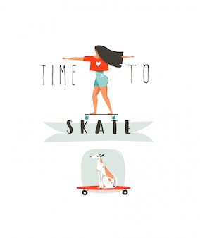 Illustrazione disegnata a mano di divertimento di ora legale del fumetto con la ragazza che guida sul bordo lungo, cane sullo skateboard e tipografia moderna tempo di pattinare isolato