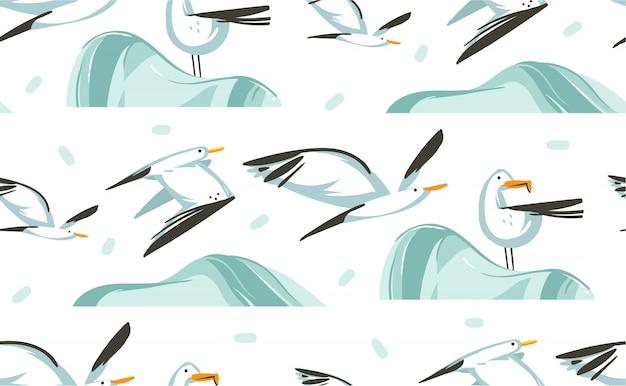 Modello senza cuciture artistico delle illustrazioni disegnate a mano di ora legale del fumetto con gli uccelli dei gabbiani di volo di volo sulla spiaggia su fondo bianco Vettore Premium