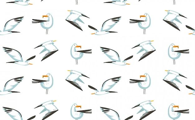 Modello senza cuciture artistico delle illustrazioni disegnate a mano di ora legale del fumetto con gli uccelli dei gabbiani di volo di volo sulla spiaggia su fondo bianco