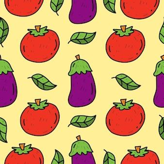 Disegno senza cuciture del modello di scarabocchio di verdure del fumetto disegnato a mano