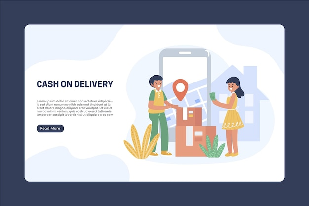 Modello di pagina di destinazione in contanti alla consegna disegnato a mano