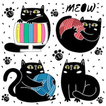 Disegni disegnati a mano di gatto