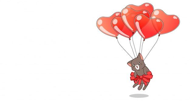 Il gatto disegnato a mano è appeso con palloncini a cuore