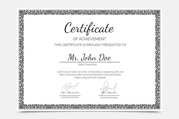 Certificato di conseguimento disegnato a mano