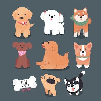 Collezione di cani di design del personaggio disegnato a mano Vettore Premium