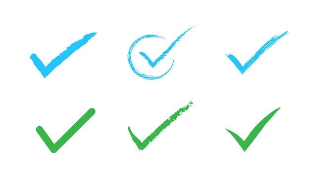 Segno di spunta disegnato a mano isolato su sfondo bianco