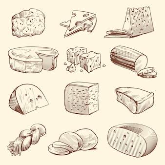 Formaggio disegnato a mano. vari tipi di formaggi. Vettore Premium