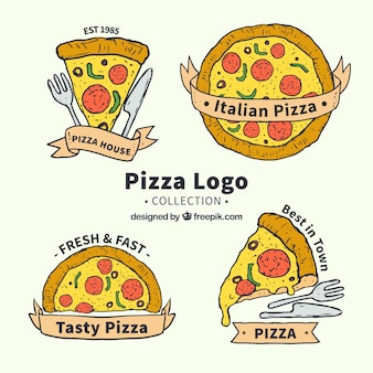 Collezione di logo di pizza cheesy disegnata a mano