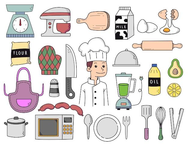 Cuoco unico disegnato a mano e doodle di cucina