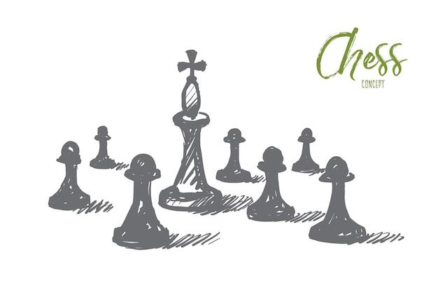 Schizzo di concetto di scacchi disegnato a mano