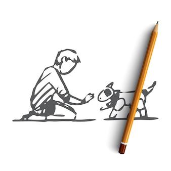 Bambino disegnato a mano con cane robot