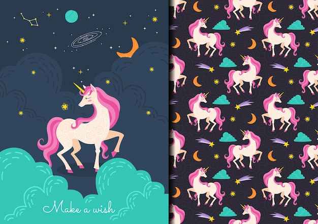 Modello senza cuciture infantile disegnato a mano con unicorno rosa carino nello spazio