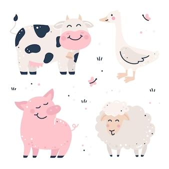 Set infantile disegnato a mano con animali da fattoria