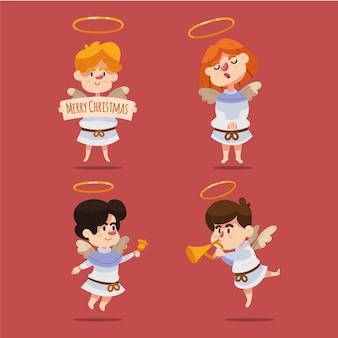 Pacchetto di illustrazione di angelo di natale disegnato a mano