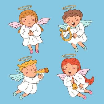 Set di angeli di natale disegnati a mano