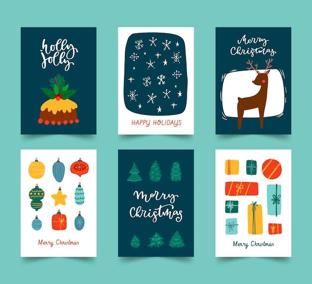 Collezione di cartoline di natale disegnate a mano