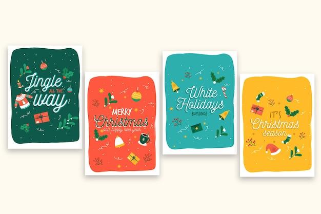 Modello di cartoline di natale disegnati a mano