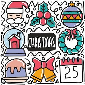 Il natale disegnato a mano celebra il doodle impostato con icone ed elemento di design