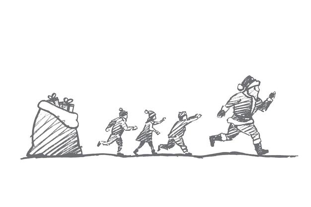 Schizzo di concetto di natale disegnato a mano