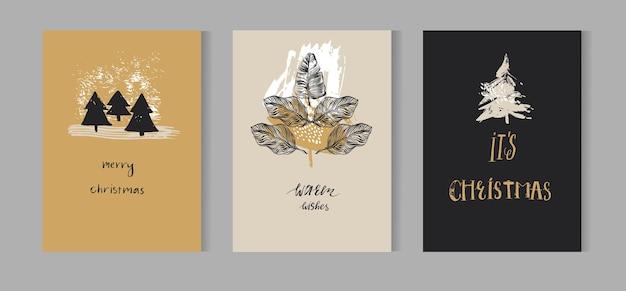 Modello di disegno di carta di decorazione di natale disegnato a mano con alberi di natale dipinti a pennello e fase di lettere moderne scritte a mano buon natale