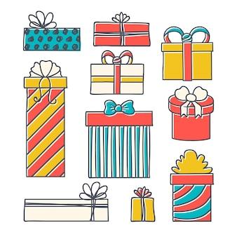 Collezione di regali di natale disegnati a mano