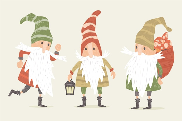 Collezione di gnomi natalizi disegnati a mano