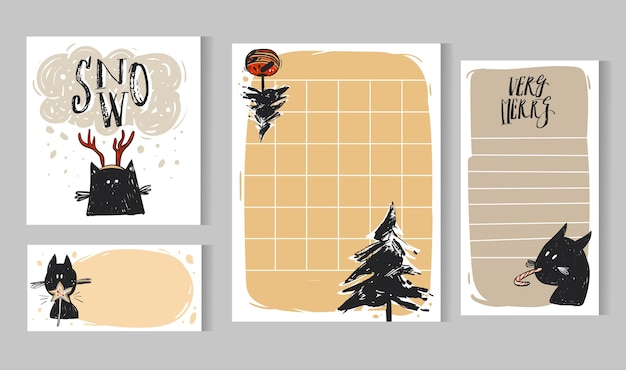 I modelli di biglietti di auguri di natale disegnati a mano impostano pagine di diario di raccolta o taccuino con alberi di natale, simpatici personaggi di gatti neri e calligrafia moderna.