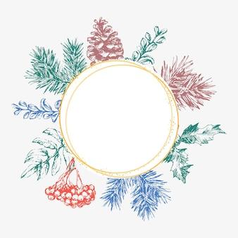 Biglietto d'invito di natale e capodanno disegnato a mano. illustrazione vettoriale disegnato a mano della corona retrò su sfondo chiaro. collezione vacanze invernali