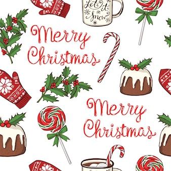 Reticolo senza giunte disegnato a mano di natale e capodanno. lecca lecca alla menta piperita, tazza con cioccolata calda, tradizionale pudding natalizio
