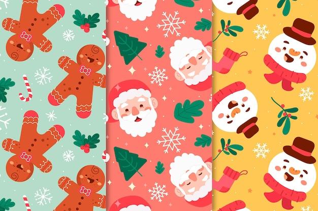 Collezione di modelli natalizi disegnati a mano