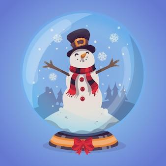Globo di palla di neve di natale disegnato a mano con pupazzo di neve di smiley