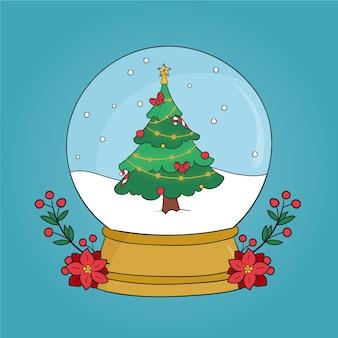 Globo della palla di neve di natale disegnato a mano