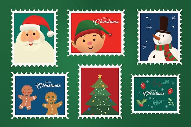 Collezione di francobolli natalizi disegnati a mano 01
