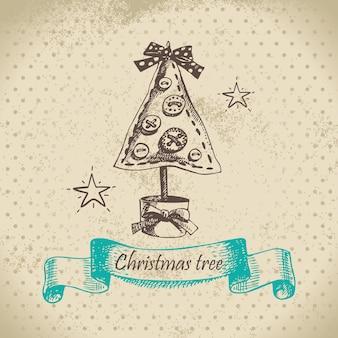 Disegno dell'albero di natale disegnato a mano
