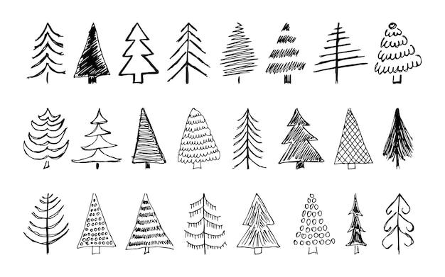 Alberi di natale disegnati a mano. serie di sedici illustrazioni abbozzate monocromatiche di abeti. elementi di doodle di vacanza invernale. illustrazione vettoriale