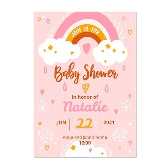 Modello di carta dell'acquazzone di bambino di chuva de amor disegnato a mano