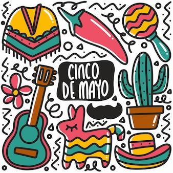 Doodle cinco de mayo disegnato a mano con icone ed elementi di design