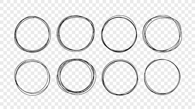 Insieme di schizzo di linea cerchio disegnato a mano. elementi di scarabocchio circolari