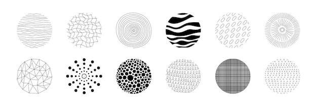 Motivo circolare disegnato a mano copertina per quaderno con texture minimalista geometrica circolare