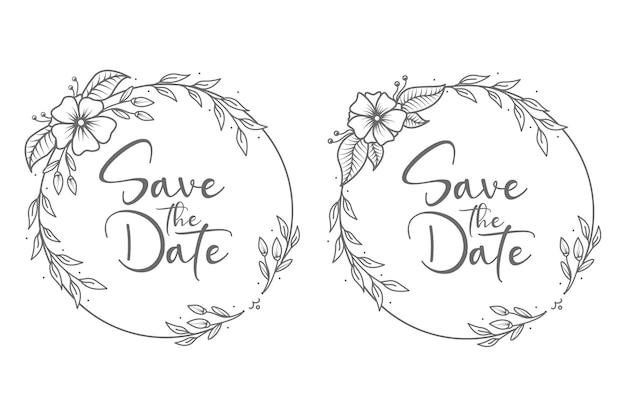 Distintivi e monogramma di nozze floreali minimal in stile cerchio disegnato a mano