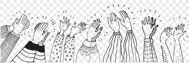 Insieme di scarabocchio di mani umane d'applauso disegnato a mano. il disegno a matita della raccolta schizza le donne degli uomini che alzano le armi che fanno l'applauso isolato