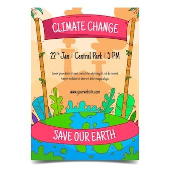 Volantini sui cambiamenti climatici disegnati a mano