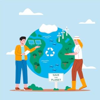 Illustrazione disegnata a mano del cambiamento climatico