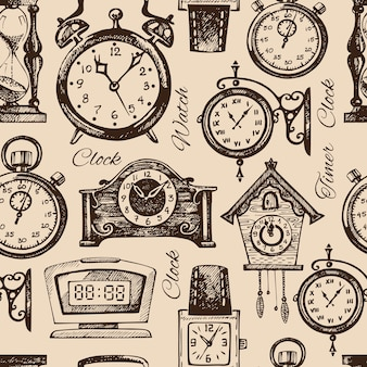 Orologi e orologi disegnati a mano. reticolo senza giunte di schizzo disegnato a mano dell'annata. illustrazione vettoriale