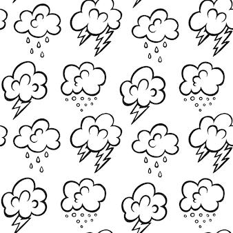 Modello senza cuciture di vettore delle nuvole disegnate a mano