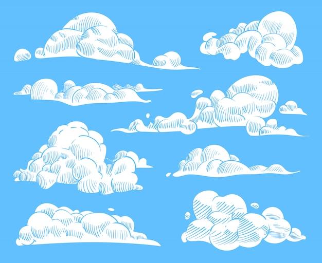 Nuvole disegnate a mano. schizzo cielo nuvoloso, nuvola arricciata incisa vintage.