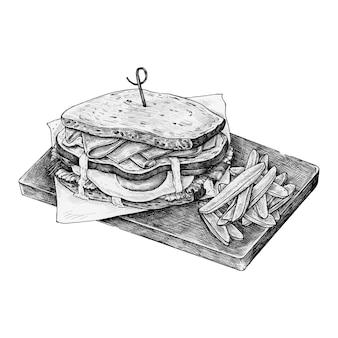 Panino club con patatine fritte disegnato a mano