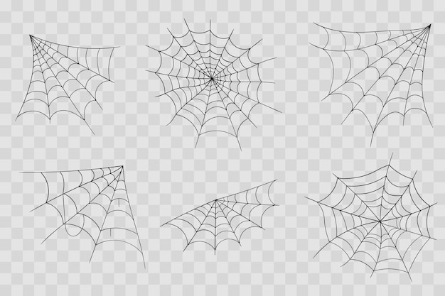 Disegnato a mano ragnatela linea arte schizzo stile ragnatela elementi spettrale immagine spaventosa halloween
